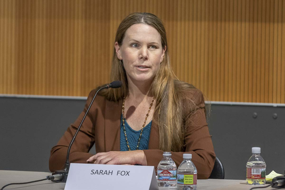Sarah Fox, a candidate for Vancouver City Council Position 1, speaks at a League of Women Voters candidate forum. Photo by Mike Schultz