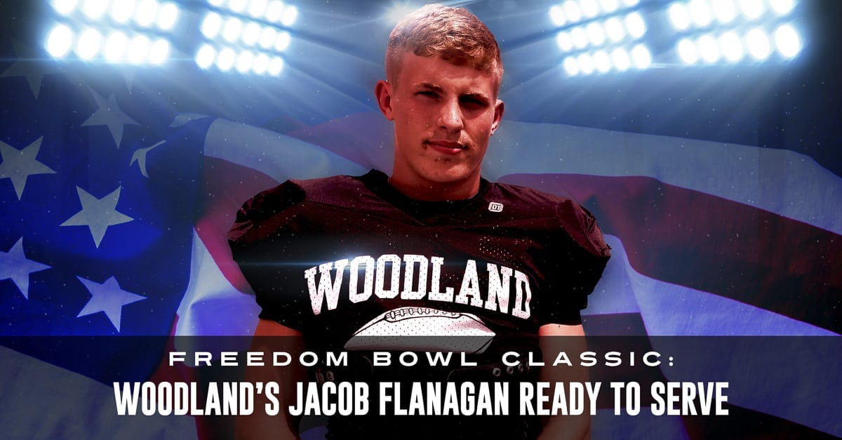 Woodland's Jacob Flanagan expects Saturday to be his final organized football game when he plays in the Freedom Bowl Classic at McKenzie Stadium. After the summer, he plans on serving in the United States Coast Guard. Photo by Paul Valencia