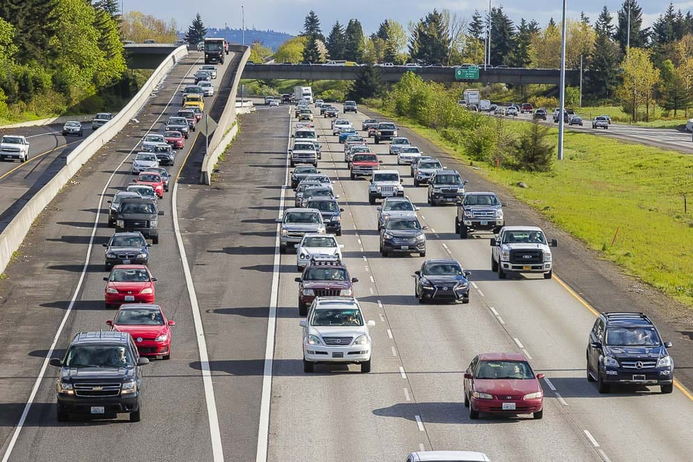 Rush hour traffic on I-5 as captured by photographer Mike Schultz