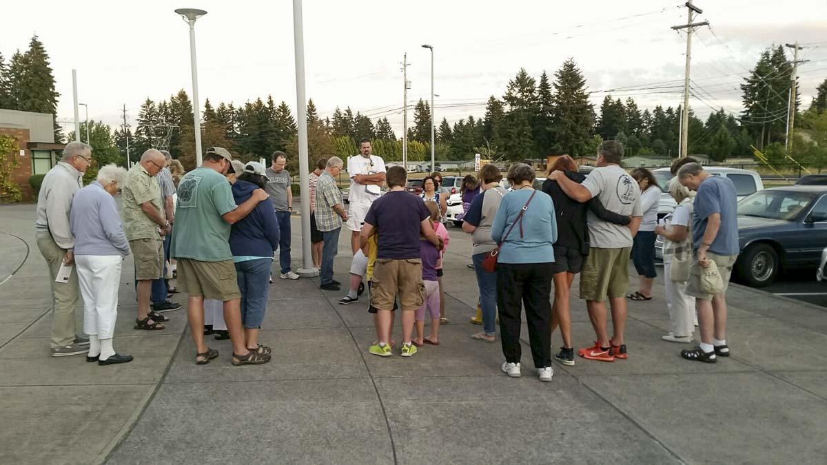 Members of the community gather at Evergreen High School at a recent prayer event. Photo courtesy of Clark County Prayer Connect