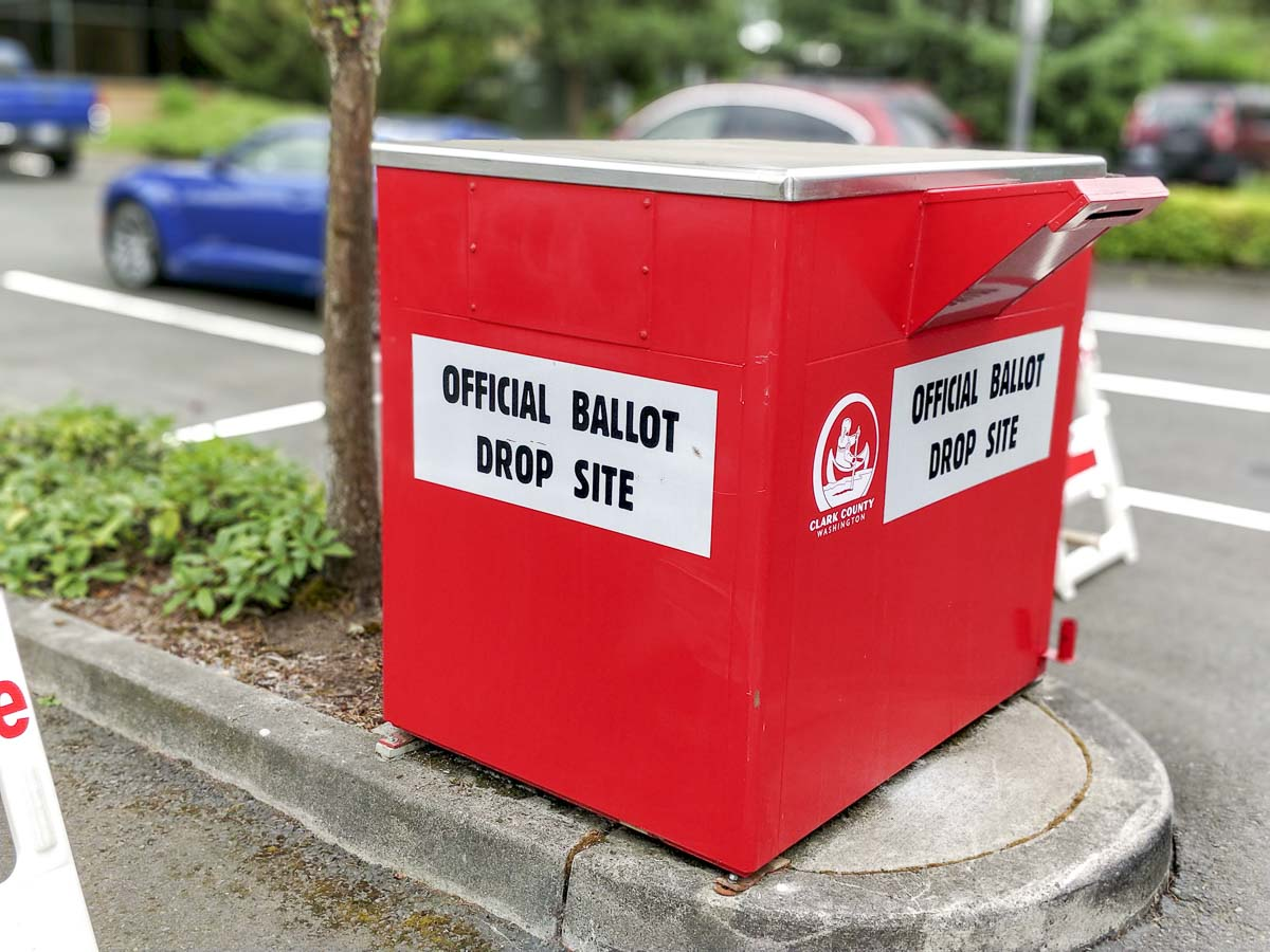 A 24-hour ballot drop box in the west parking lot at the City of Battle Ground building. Photo by Chris Brown