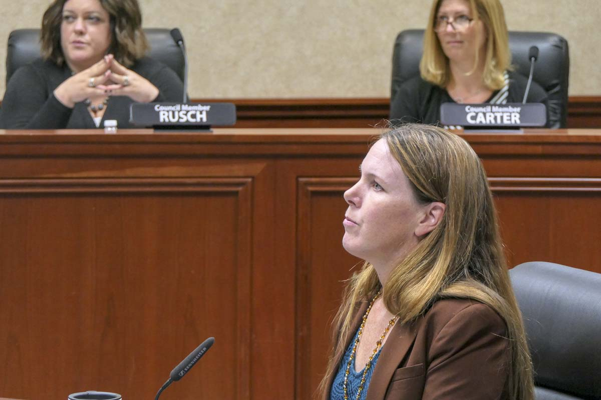 Camas City planner Sarah Fox outlines the proposal for a new Urban Tree Program for the city. Photo by Chris Brown
