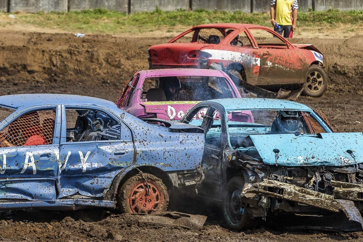 There was no shortage of collisions Thursday in the Demolition Derby at the Clark County Fair. Photo by Mike Schultz