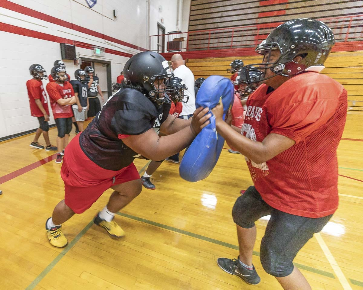 An increased turnout at Fort Vancouver High School has given the Trappers hope for the future of their football program. Photo by Mike Schultz