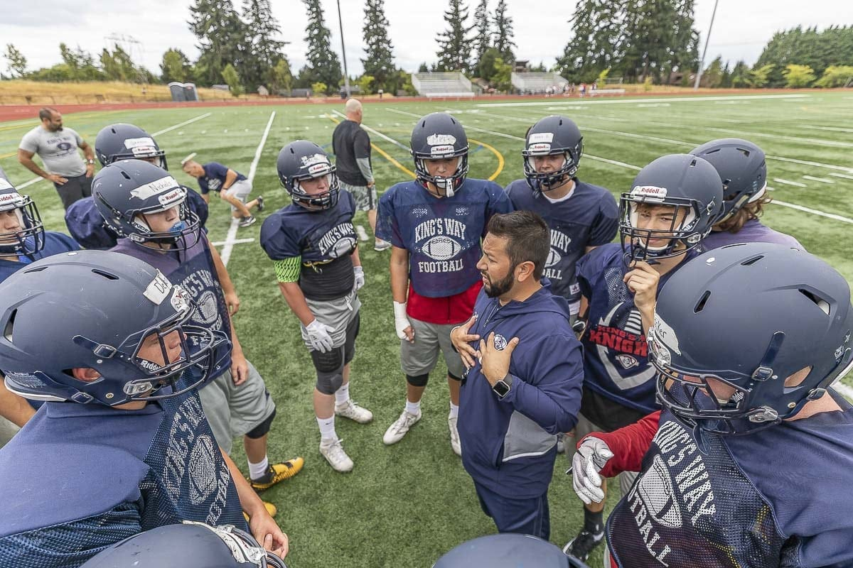 New coach Brian Rodriguez says he wants to be at King's Way Christian for the long-term plan. The program has had four head coaches in four years. Rodriguez wants the Knights to have stability. Photo by Mike Schultz