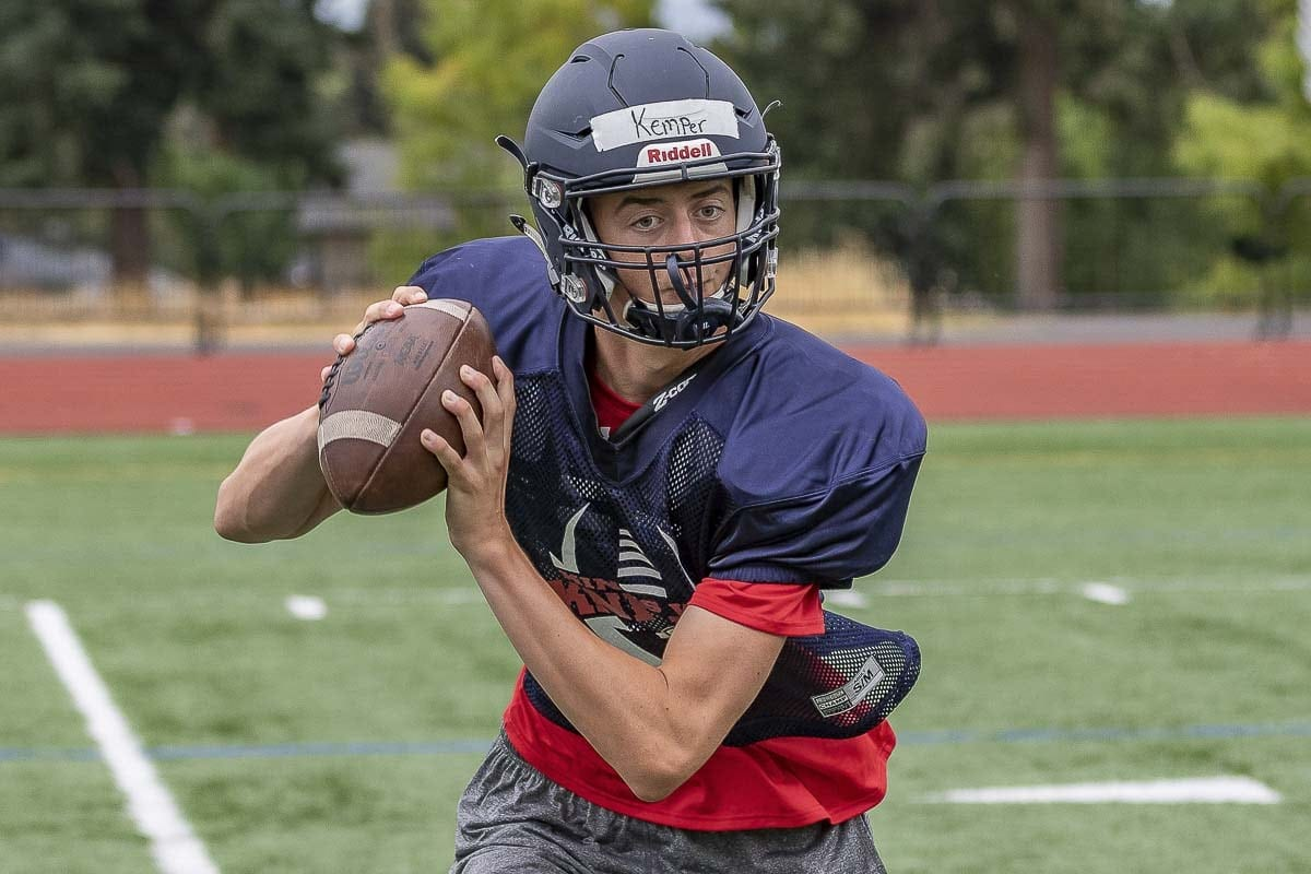 Kempter Shrock has the look of quarterback. He is tall with a great arm and is improving every day, according to his coach. Photo by Mike Schultz