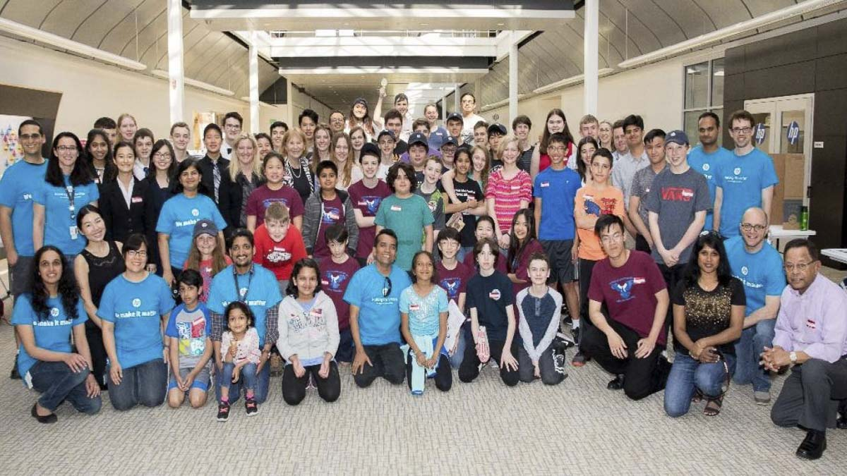 Among HP's various community engagement efforts is an especially strong dedication to growing science, technology, engineering, and mathematics knowledge among area youth. Pictured is a group photo from a science fair hosted by HP. Photo courtesy of HP Vancouver.