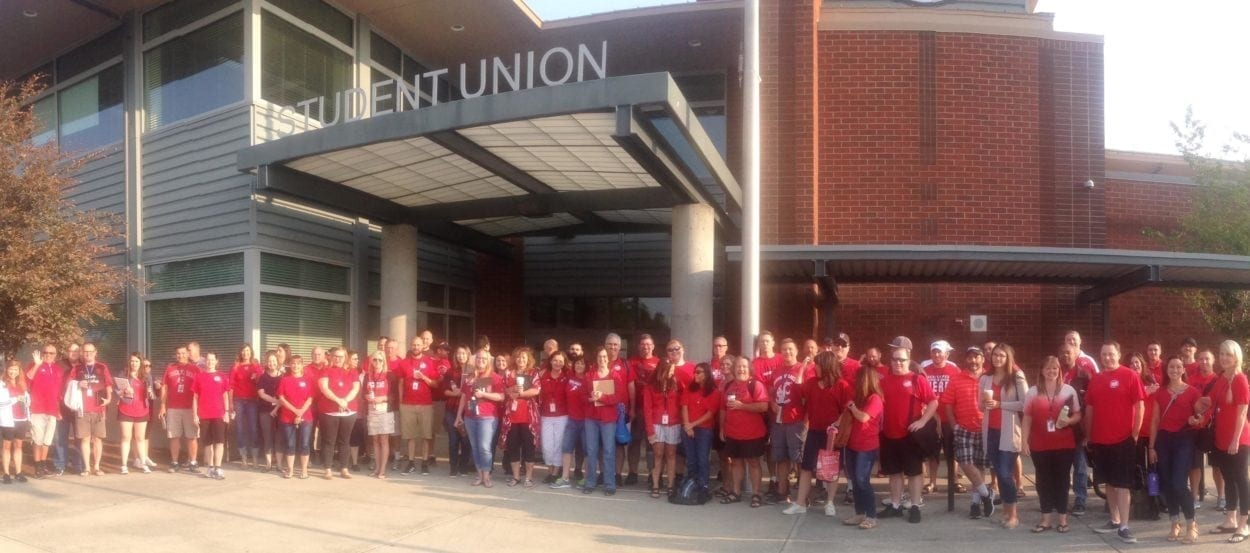 Evergreen teachers rallied earlier this week outside Union High School. They voted Thursday to strike if a deal isn't reached by next Tuesday. Photo courtesy Evergreen Education Association