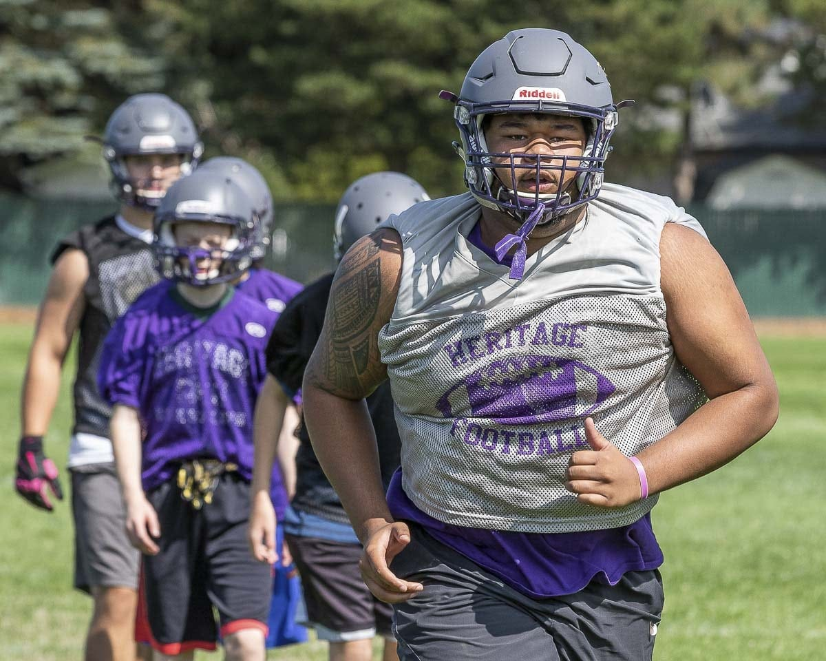 Junior Solofua Vercher is one of the key returning players in the Heritage football program in 2018. Photo by Mike Schultz