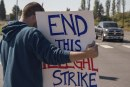 Battle Ground teacher strike draws counter protesters on day seven