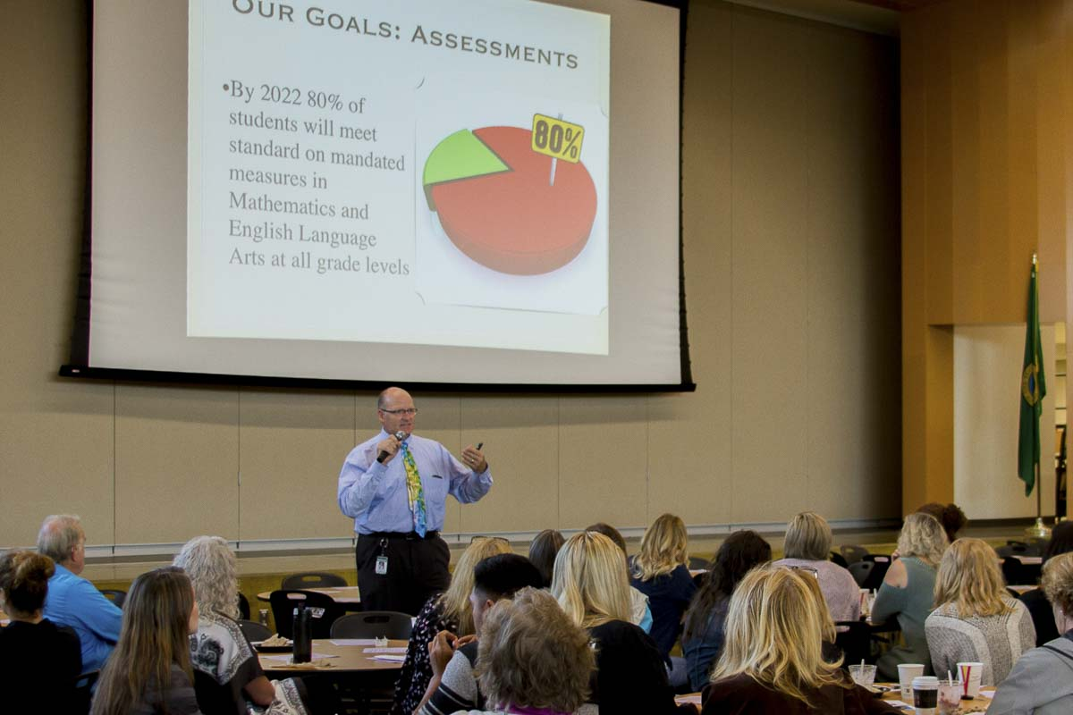 Woodland School District Superintendent Michael Green reviewed past goals, the significant progress made in the prior school year, and shared words of inspiration and encouragement to help guide the district toward continuous improvement in 2018-19. Photo courtesy of Woodland Public Schools