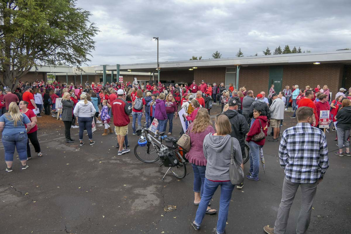 The crowd spilled out into the courtyard at Lewisville Intermediate Campus in Battle Ground. Photo by Chris Brown