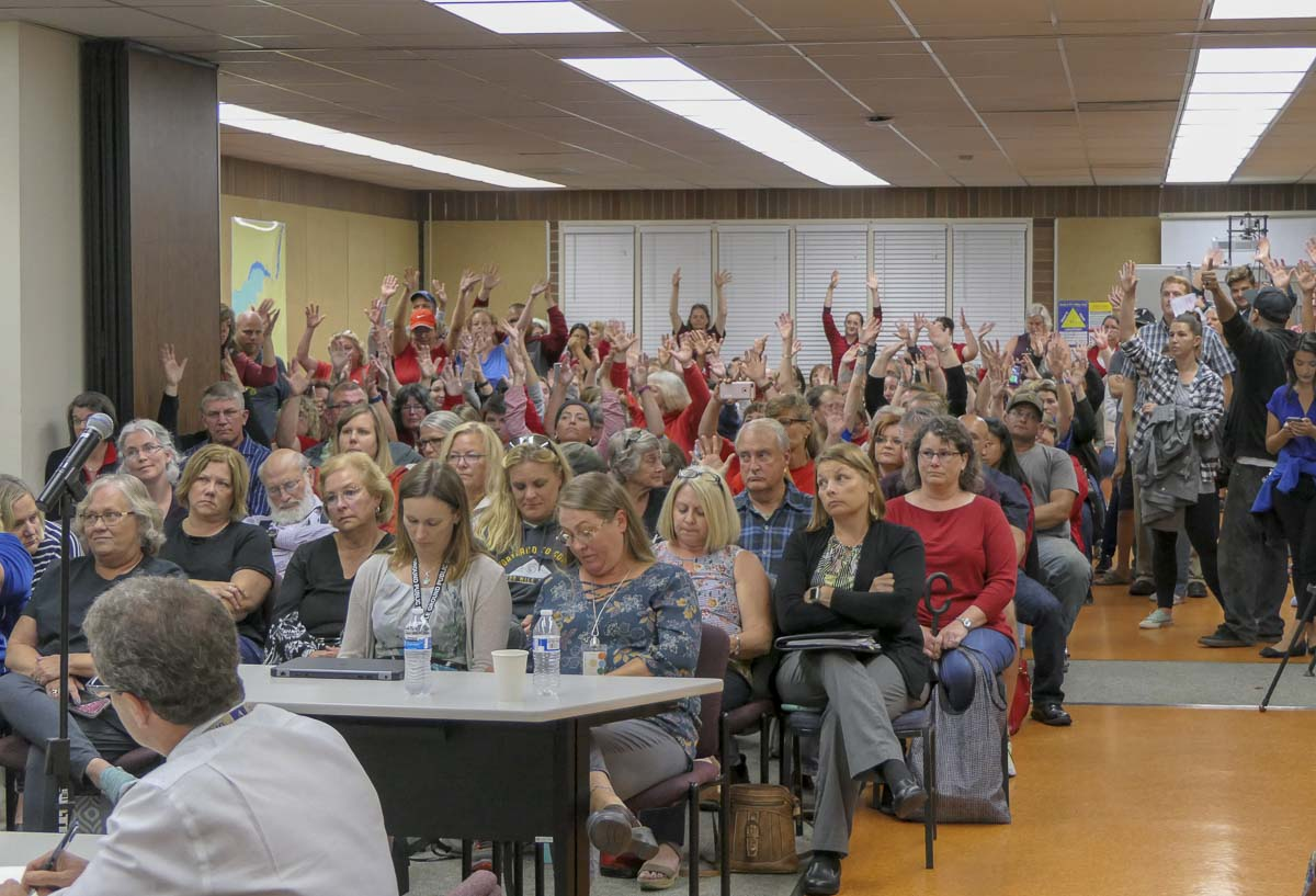 Hundreds packed a room at Lewisville Intermediate Campus in Battle Ground for a meeting Monday night. Photo by Chris Brown