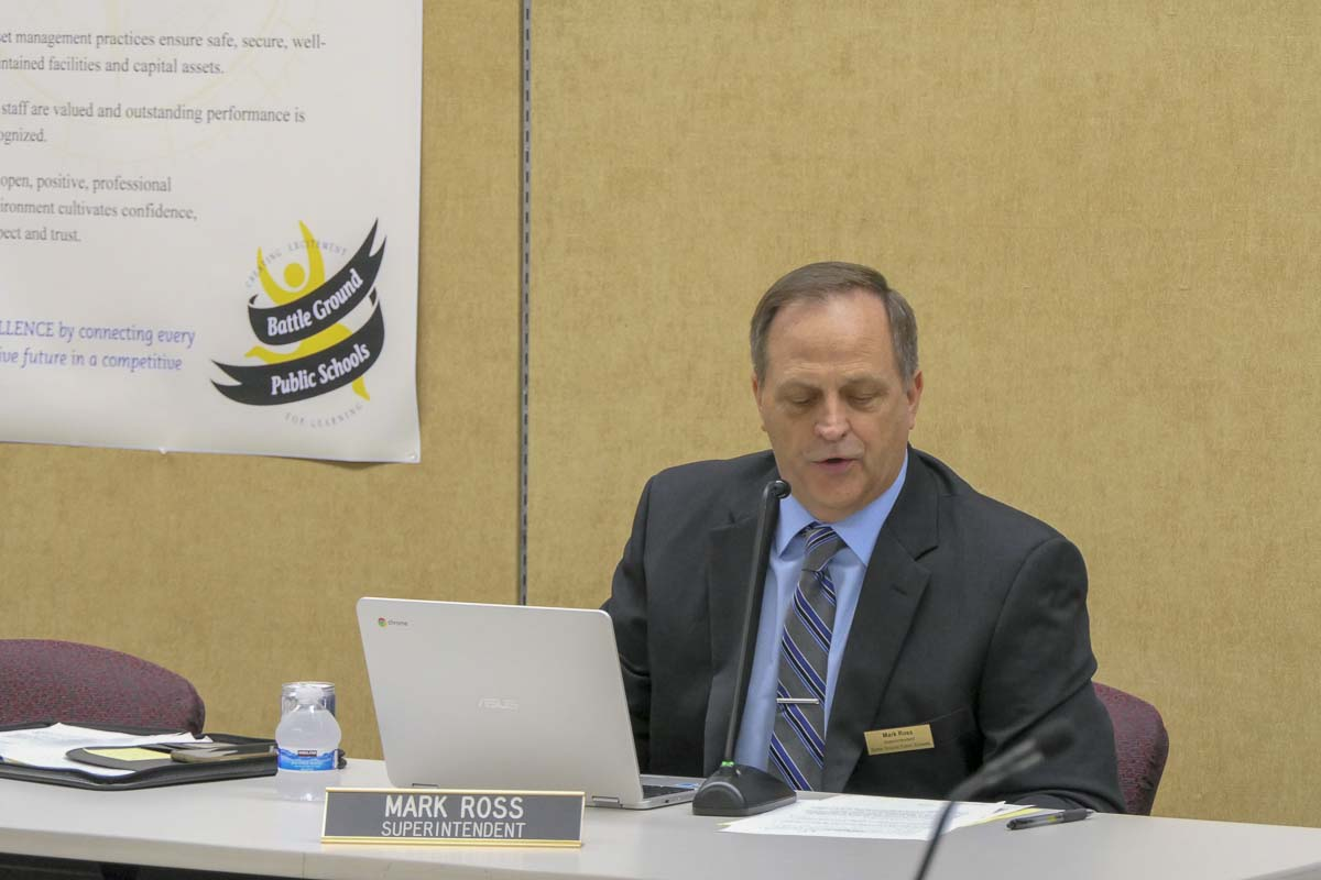 Battle Ground Schools Superintendent Mark Ross reads a statement at the start of Monday's board meeting. Photo by Chris Brown