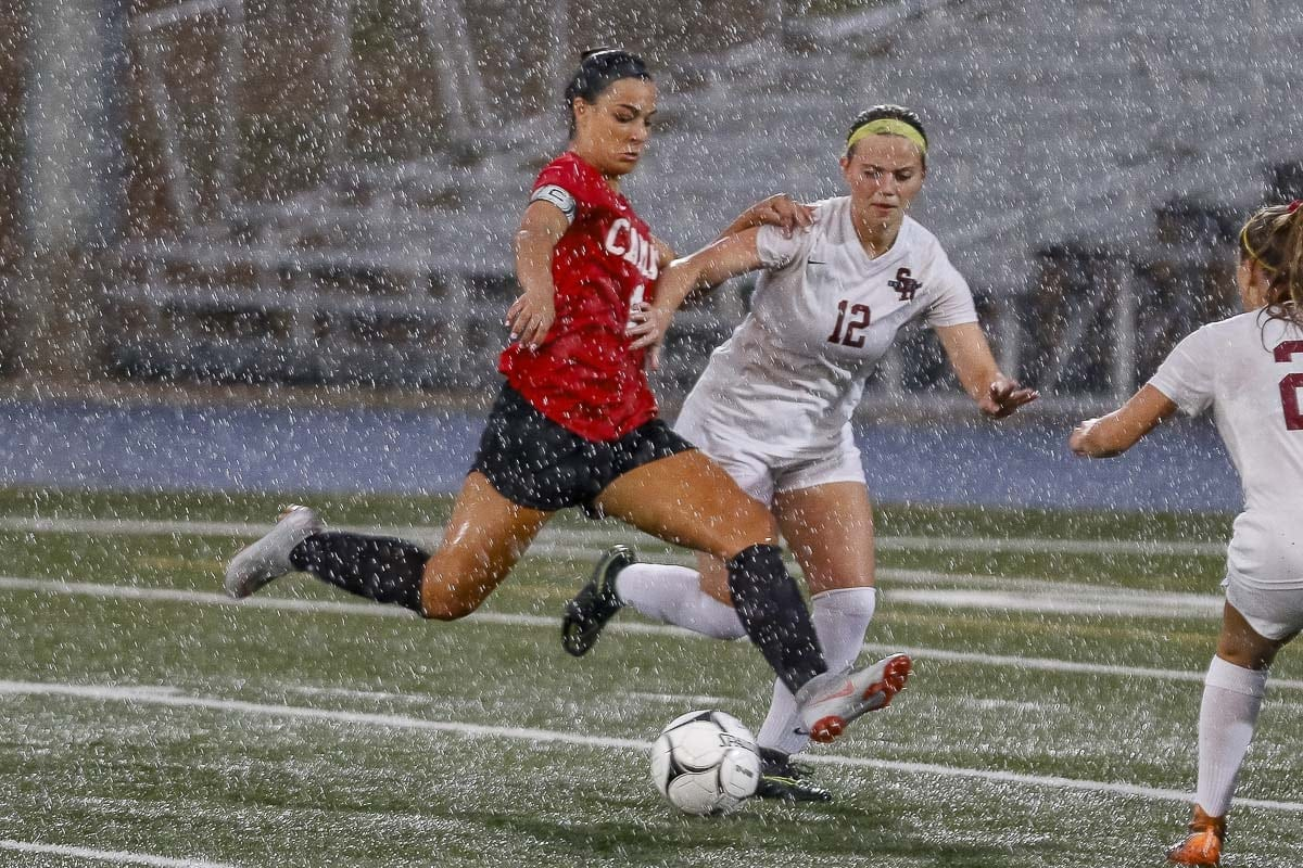 Maddie Kemp would score Goal No. 90 against Sherwood, Ore., on Tuesday. The next night, she scored five more goals at Tumwater. Photo by Mike Schultz