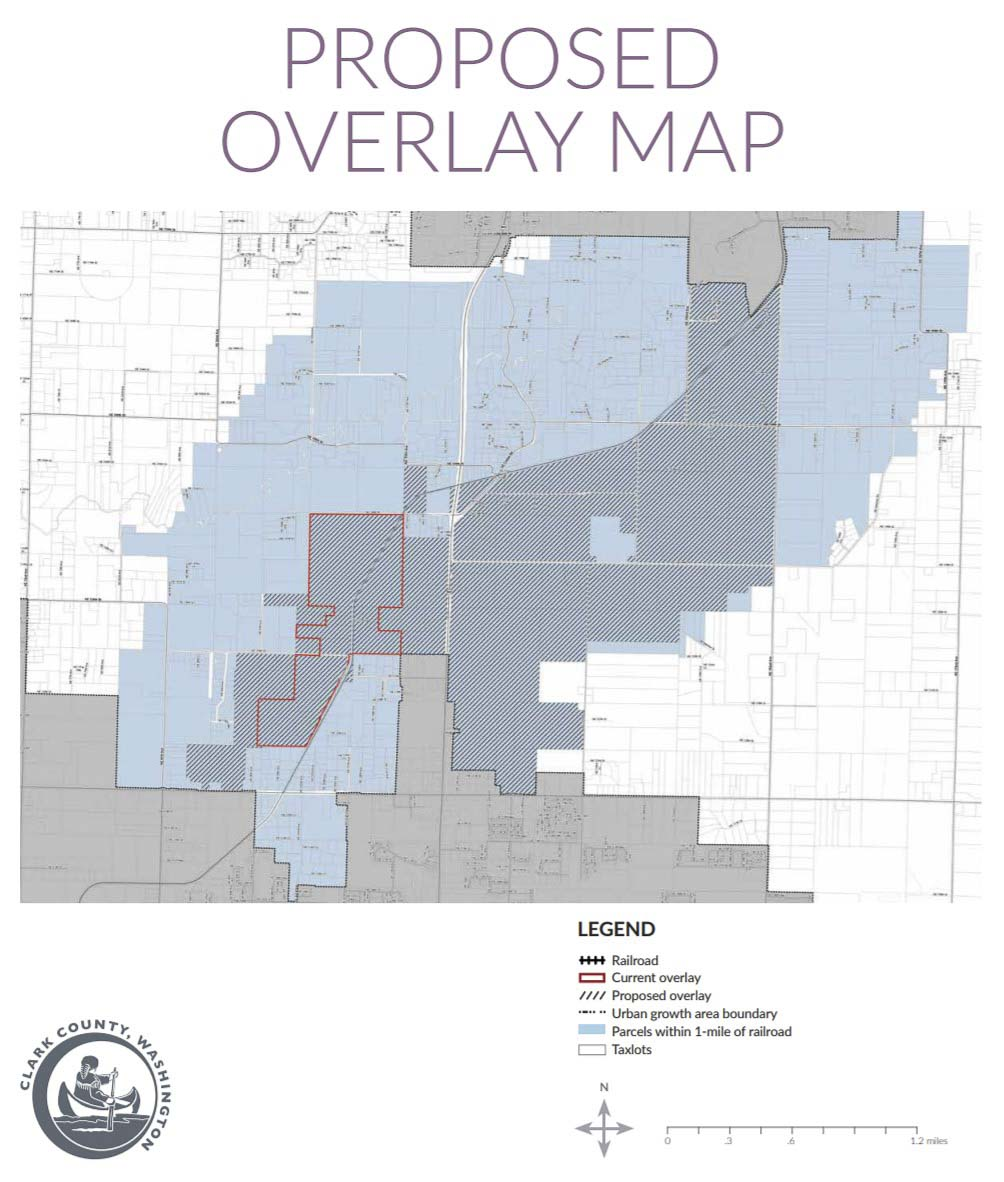 This map shows the potential overlay map for Freight Rail Dependent Use development. The hashed areas in blue are considered most likely to develop. Image courtesy Clark County Community Planning