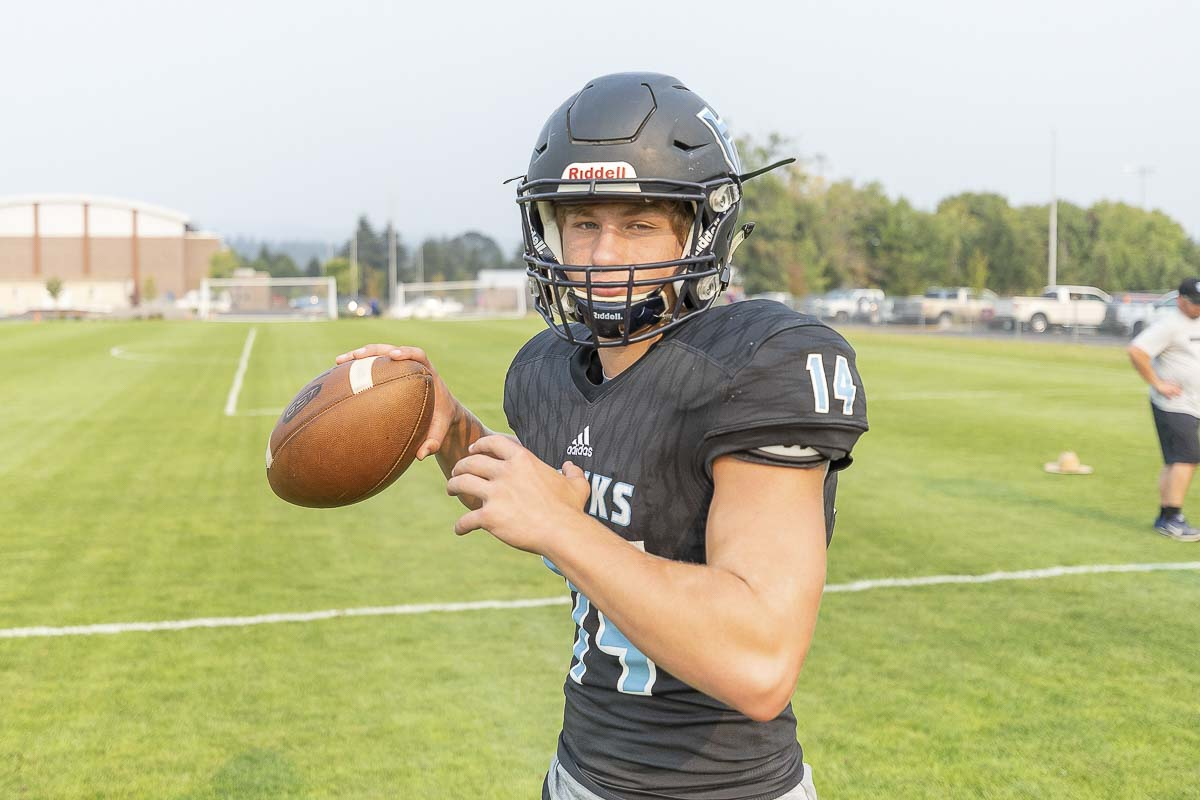 Levi Crum threw for 369 yards and rushed for 102 yards as Hockinson beat Archbishop Murphy 42-13, a game that was broadcast live on Root Sports Northwest. Photo by Mike Schultz