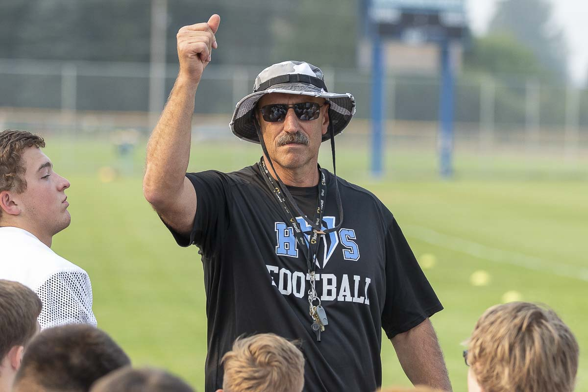 Hockinson coach Rick Steele will guide his team into a marquee matchup with Archbishop Murphy Thursday. The game will be televised on Root Sports. Photo by Mike Schultz