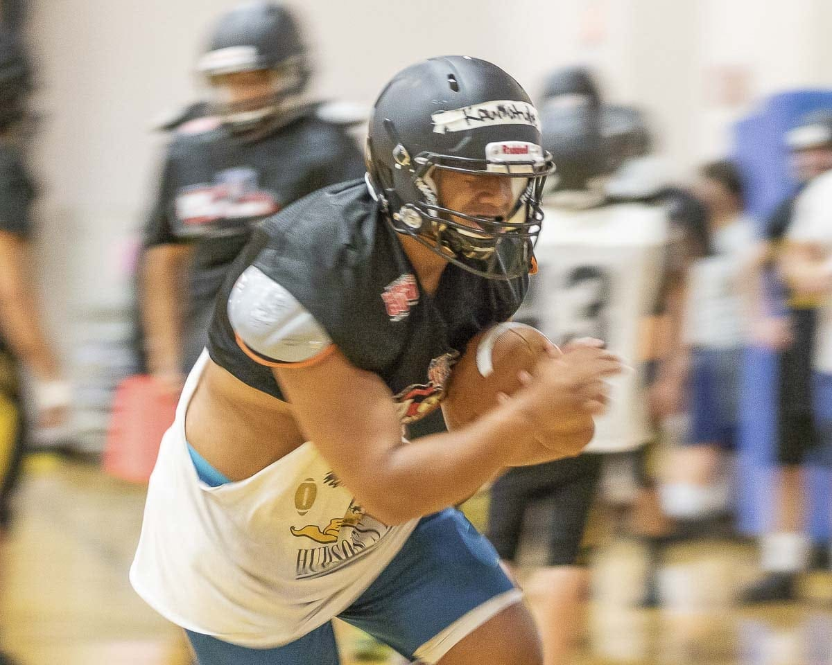"The Hudson's Bay Eagles lost in Week 2, but coach Ray Lions loved the ""Beastmode"" attack of running back Akilotoa Kaumatule. Photo by Mike Schultz"