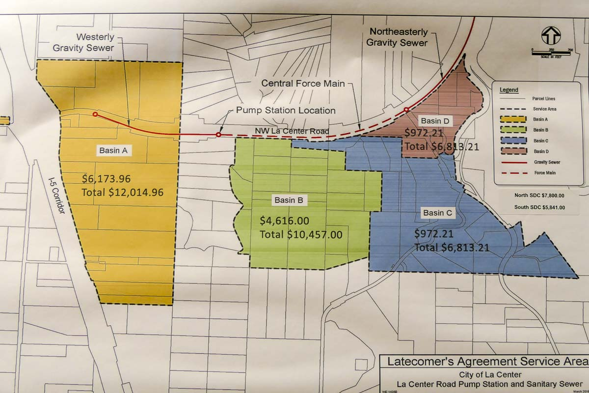This map shows which areas would be impacted by the Latecomer Agreement in La Center, and what developers would have to pay. Photo by Chris Brown