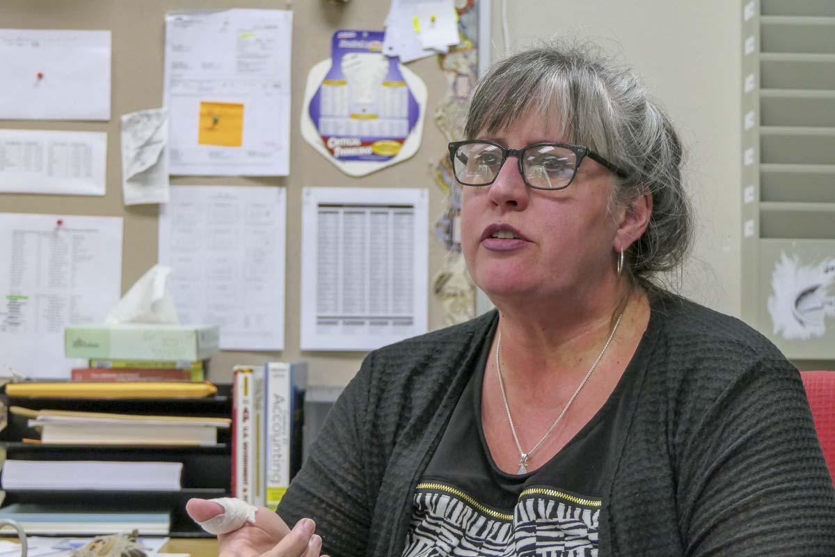 La Center High School Social Studies teacher Kathy Bounds, head of the La Center Education Association. Photo by Chris Brown