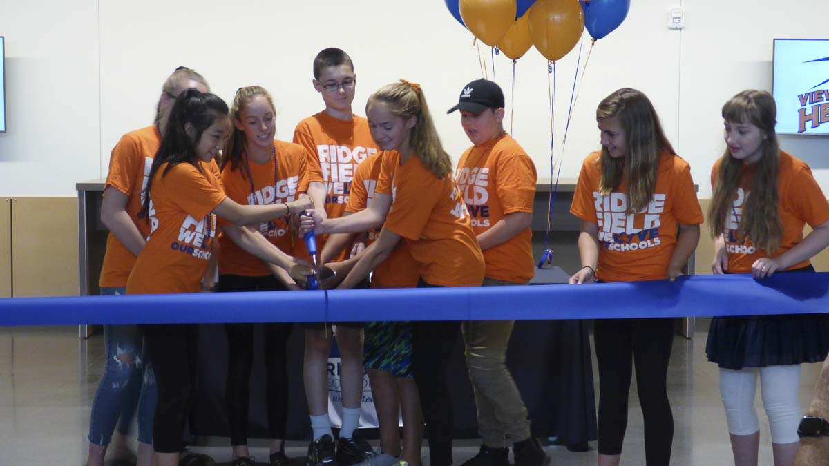 View Ridge Middle School students participate in ribbon-cutting honors for Ridgefield School District's newest campus for Grades 5-8. From left to right: Uruwa Abe, Reagan Mendenall (behind), Cameron Jones, Andrew Wilken, Claire Jones and Tyler Whitmore. Photo courtesy of Ridgefield School District