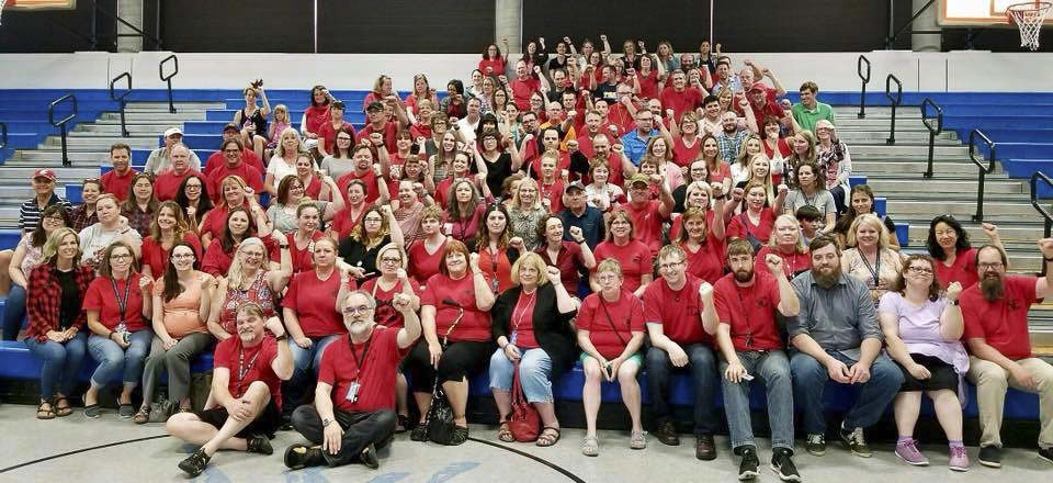 Washougal teachers gather at a rally earlier this month. Wednesday they announced a tentative deal had been reached with the district. Photo courtesy Washougal Association of Educators