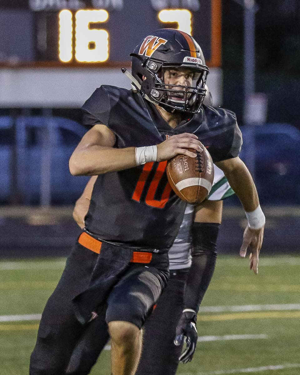 Washougal quarterback Dalton Payne helped guide Washougal to 330 yards of offense in the second half, but the Panthers came up just short of victory. Photo by Mike Schultz