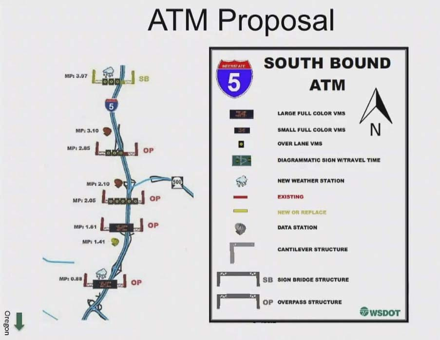 This graphic shows where WSDOT plans to install new Active Traffic Management signs along I-5. Image courtesy Washington Department of Transportation