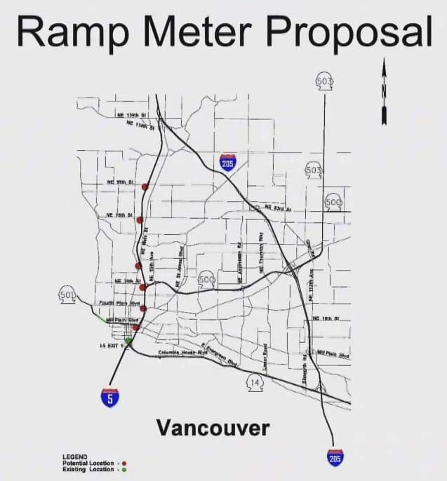 This map shows the proposed locations of new ramp meters along I-5 southbound in Clark County. Image courtesy Washington Department of Transportation