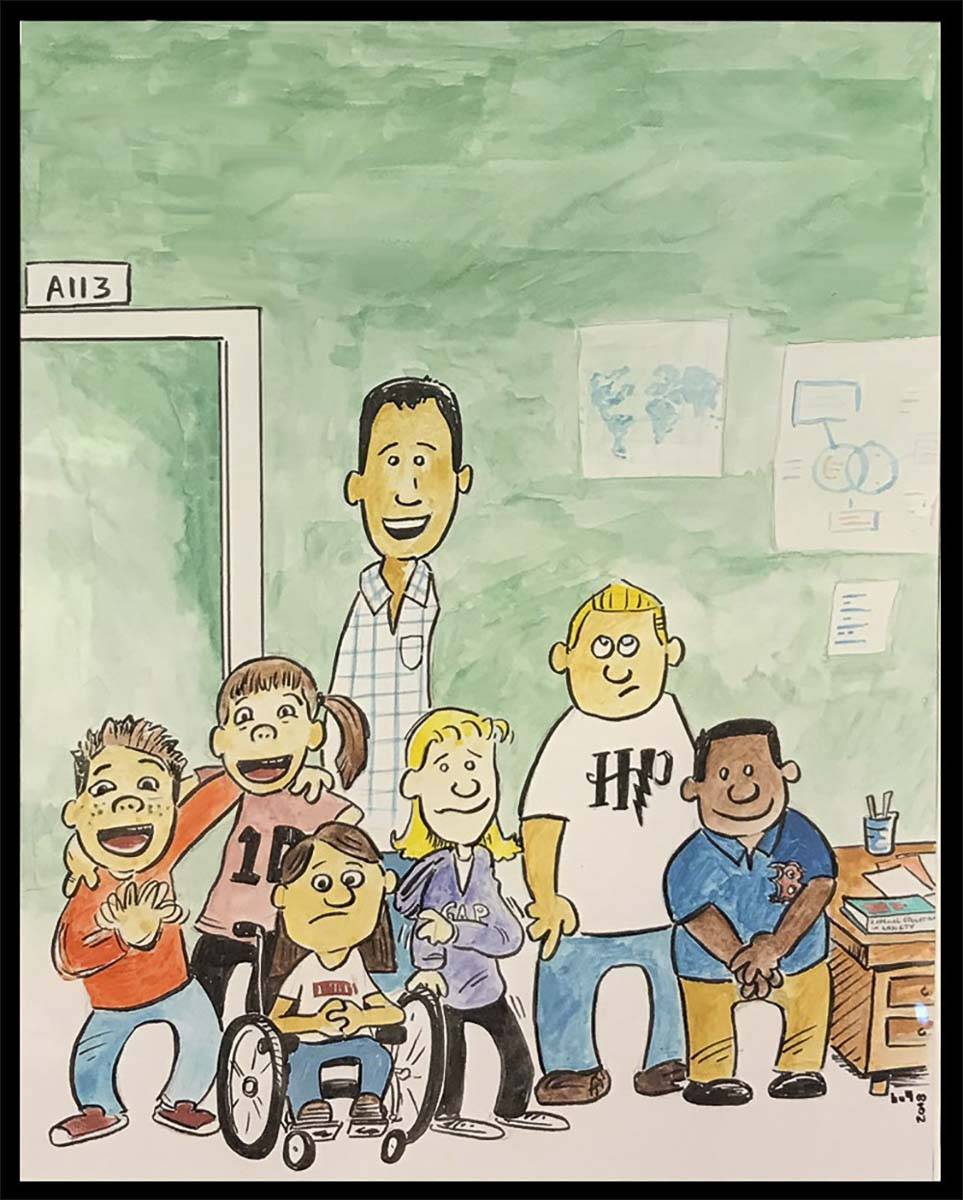 """Illustrations of the characters from """"A Special Education in Anxiety."""" Photo courtesy of Battle Ground School District"""