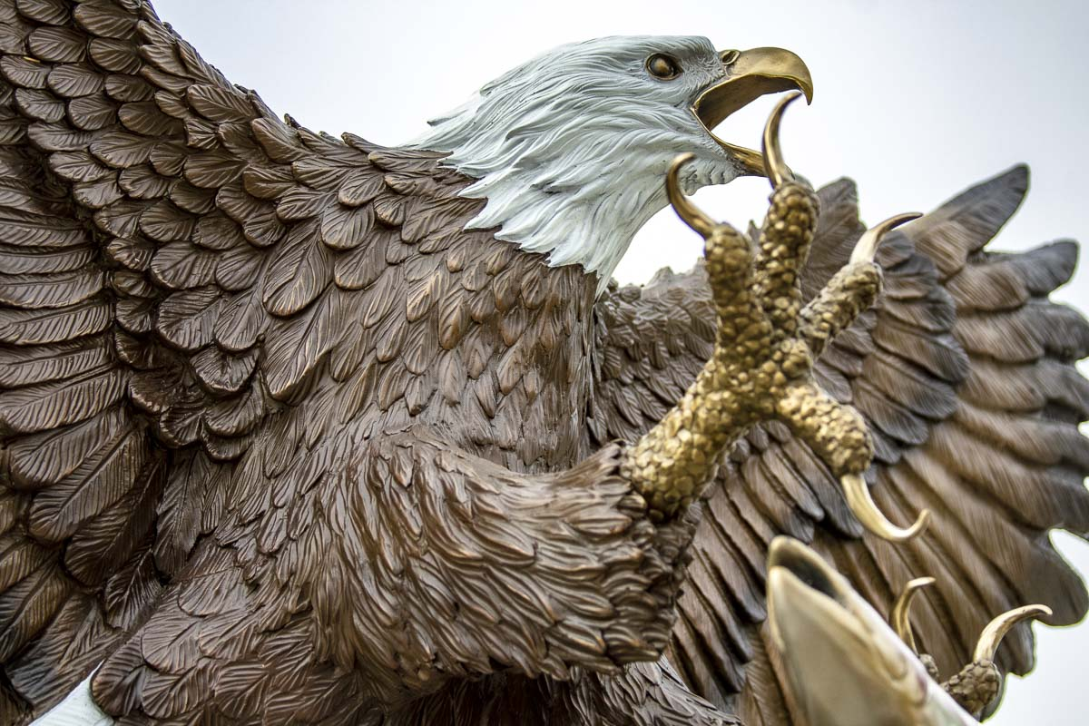 The Port of Camas-Washougal's newest attraction at Waterfront Park is a 10-foot tall bronze statue of a bald eagle. Photo by Jacob Granneman