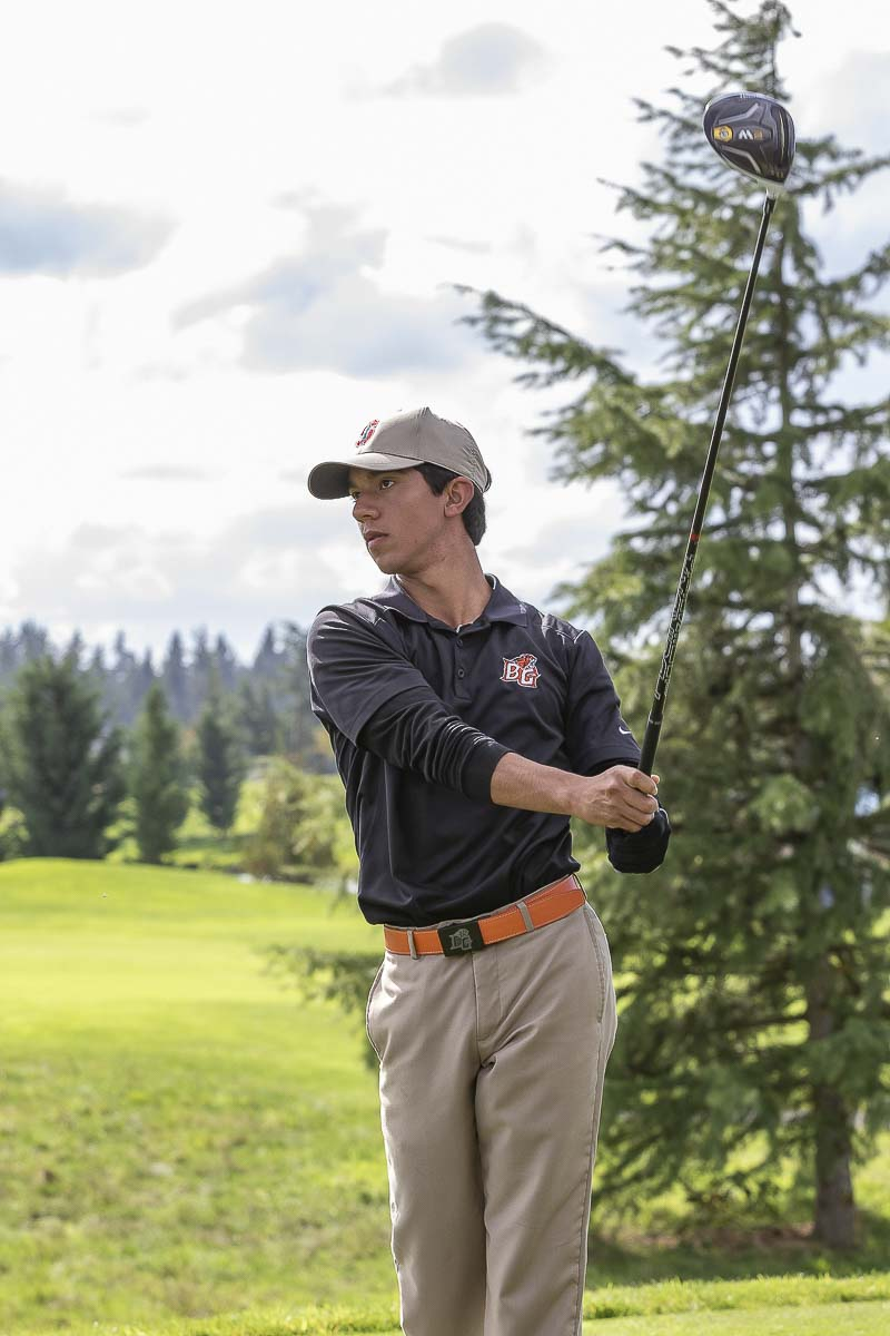 Anthony Tobias of Battle Ground rallied late Tuesday to force a playoff then won the Class 4A District 4 boys golf tournament with a birdie on the first hole. Photo by Mike Schultz