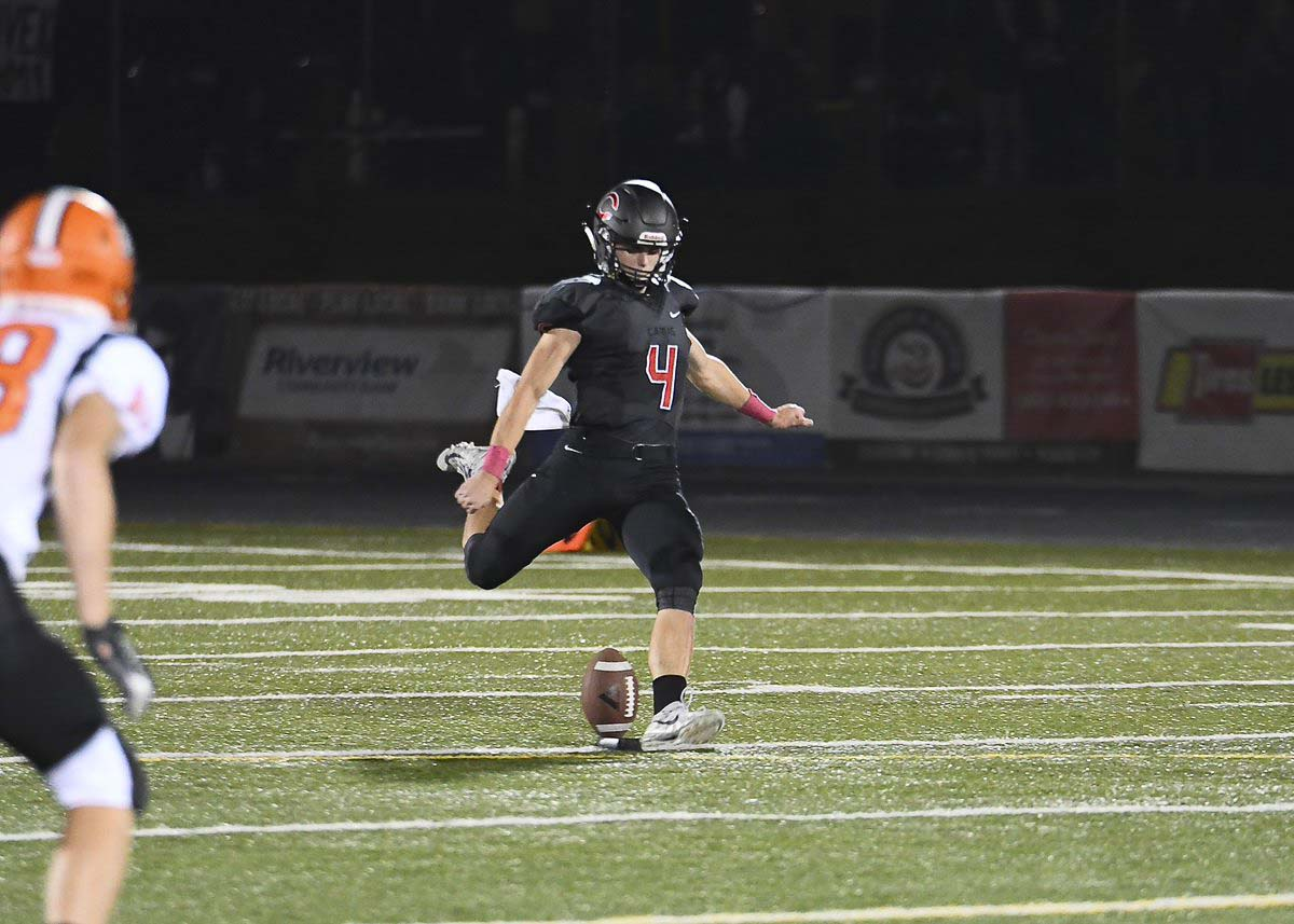 Andrew Boyle handled the kicking duties for the Camas Papermakers, plus he excelled at quarterback and safety this season. Photo by Kris Cavin