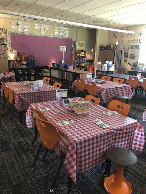 Book Cafe in Kari Hall's third grade class at Union Ridge Elementary is set up and ready for a book tasting. Photo courtesy of Ridgefield School District