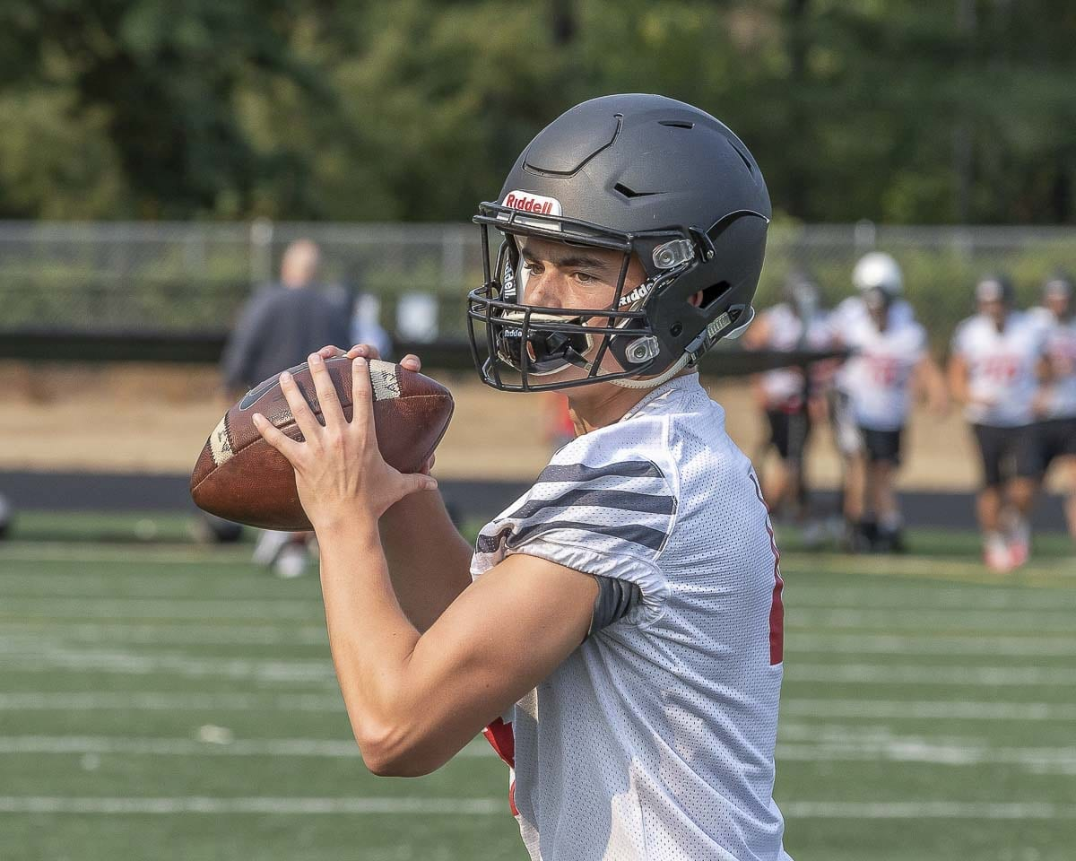 Camas quarterback Andrew Boyle helped get the Camas offense back in Week 7 as the Papermakers scored 59 points in a win over Battle Ground. Photo by Mike Schultz