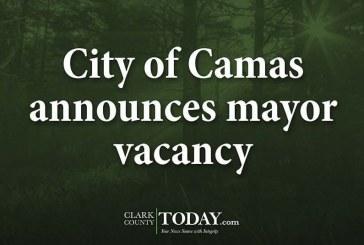City of Camas announces mayor vacancy