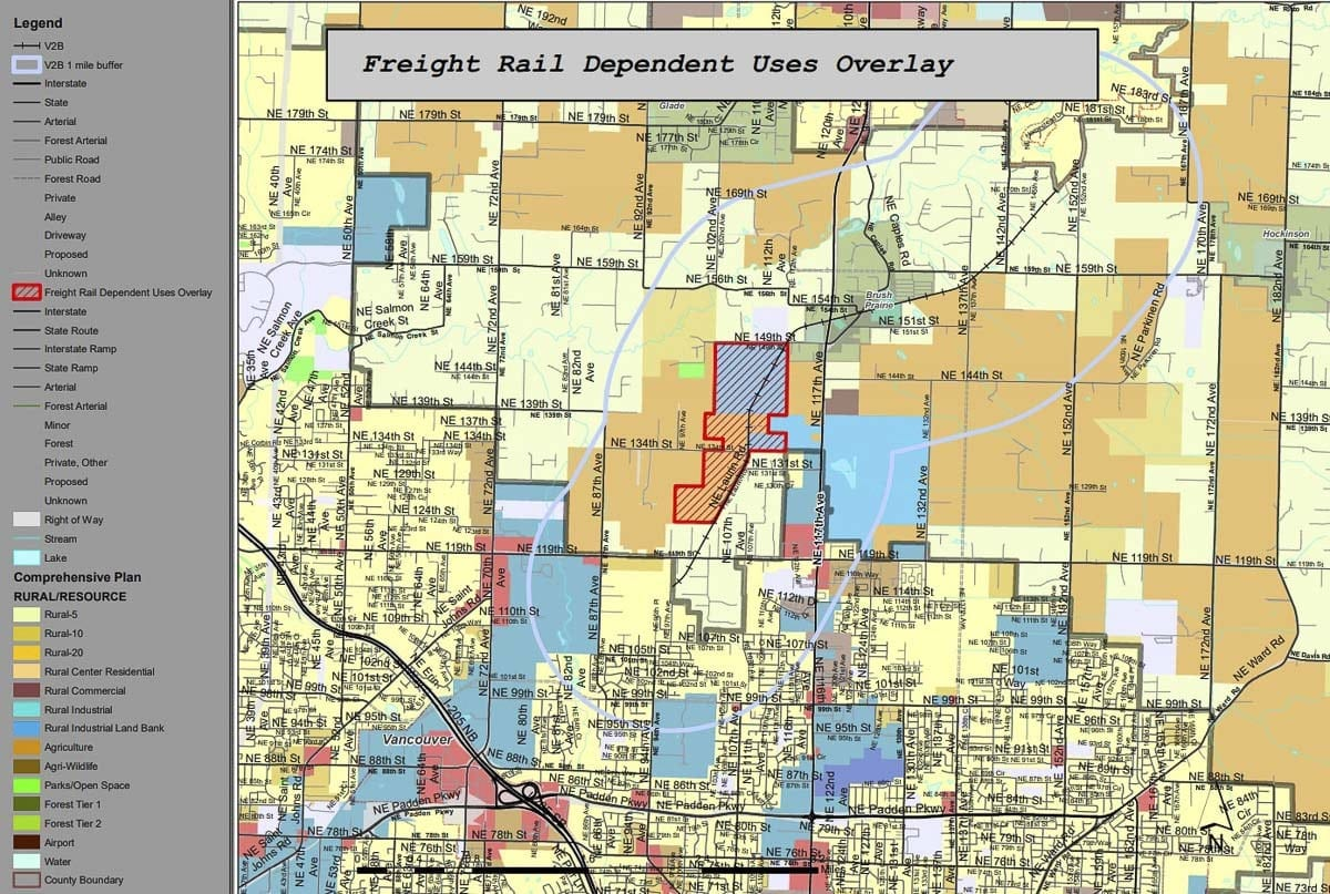 This map from January 9 shows the original FRDU Overlay proposal in red. The council has directed the Planning Commission to return to this overlay. Image courtesy Clark County Community Planning