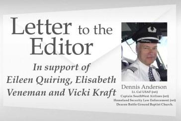 Letter: In support of Eileen Quiring, Elisabeth Veneman and Vicki Kraft