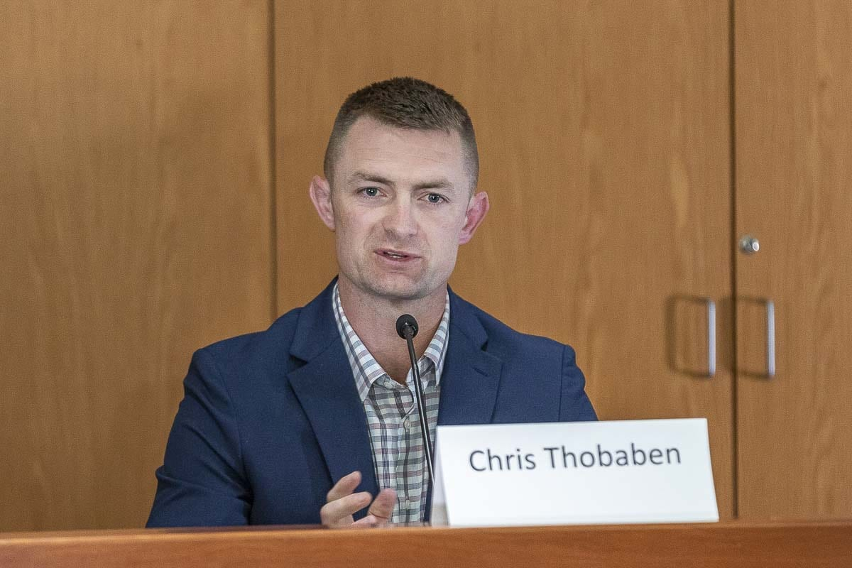 Chris Thobanen, a former Marine, is looking to unseat Brandon Vick for the 18th District, Position 1. Photo by Mike Schultz