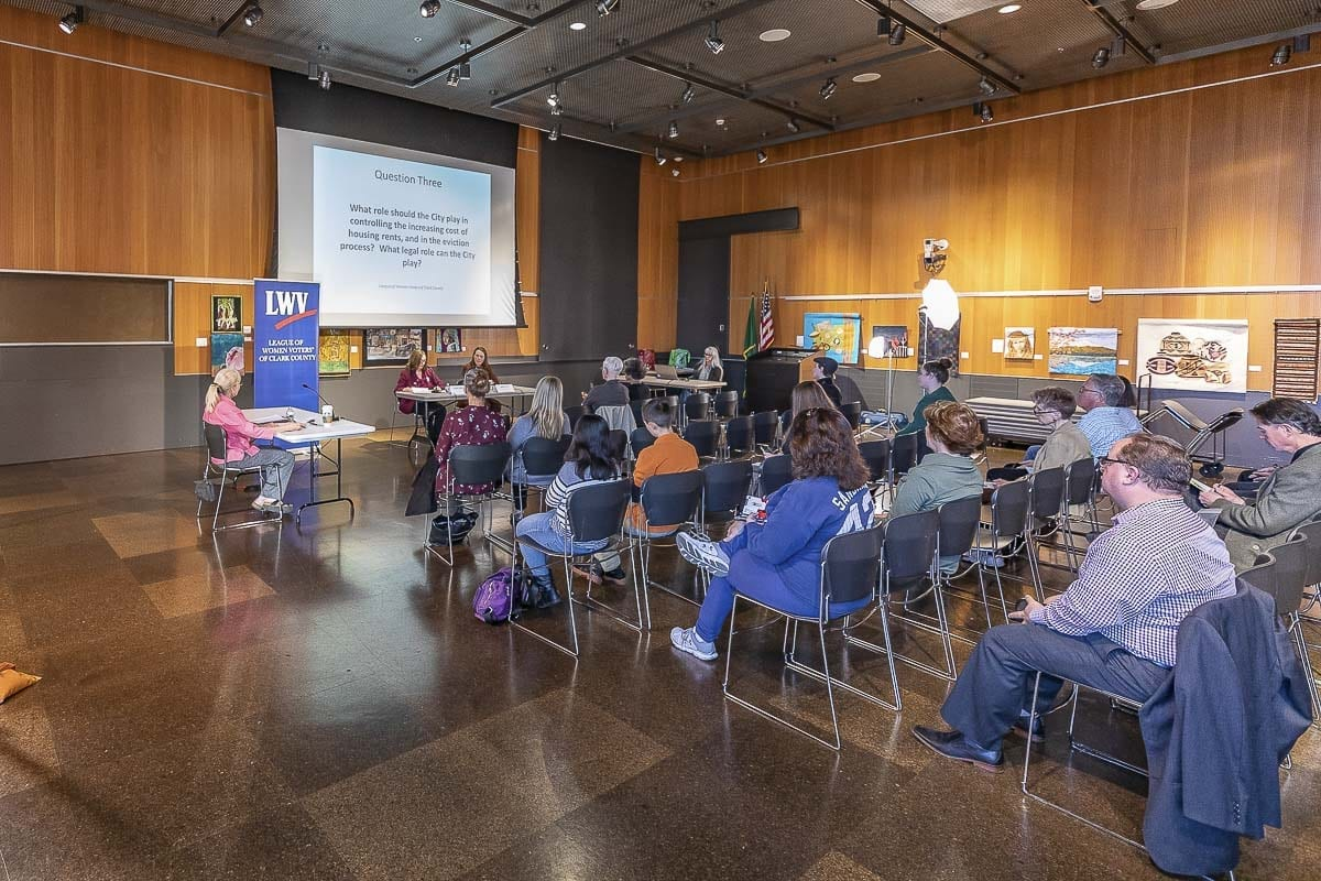The turnout fluctuated throughout the evening at a League of Women Voters forum at Vancouver Community Library Tuesday. Photo by Mike Schultz