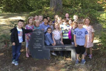 Students learning outdoors at South Ridge Elementary Trail