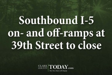 Southbound I-5 on- and off-ramps at 39th Street to close