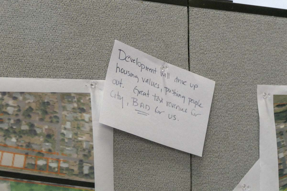 A note left by a citizen on one concept at the Tower Mall Redevelopment Open House. Photo by Chris Brown