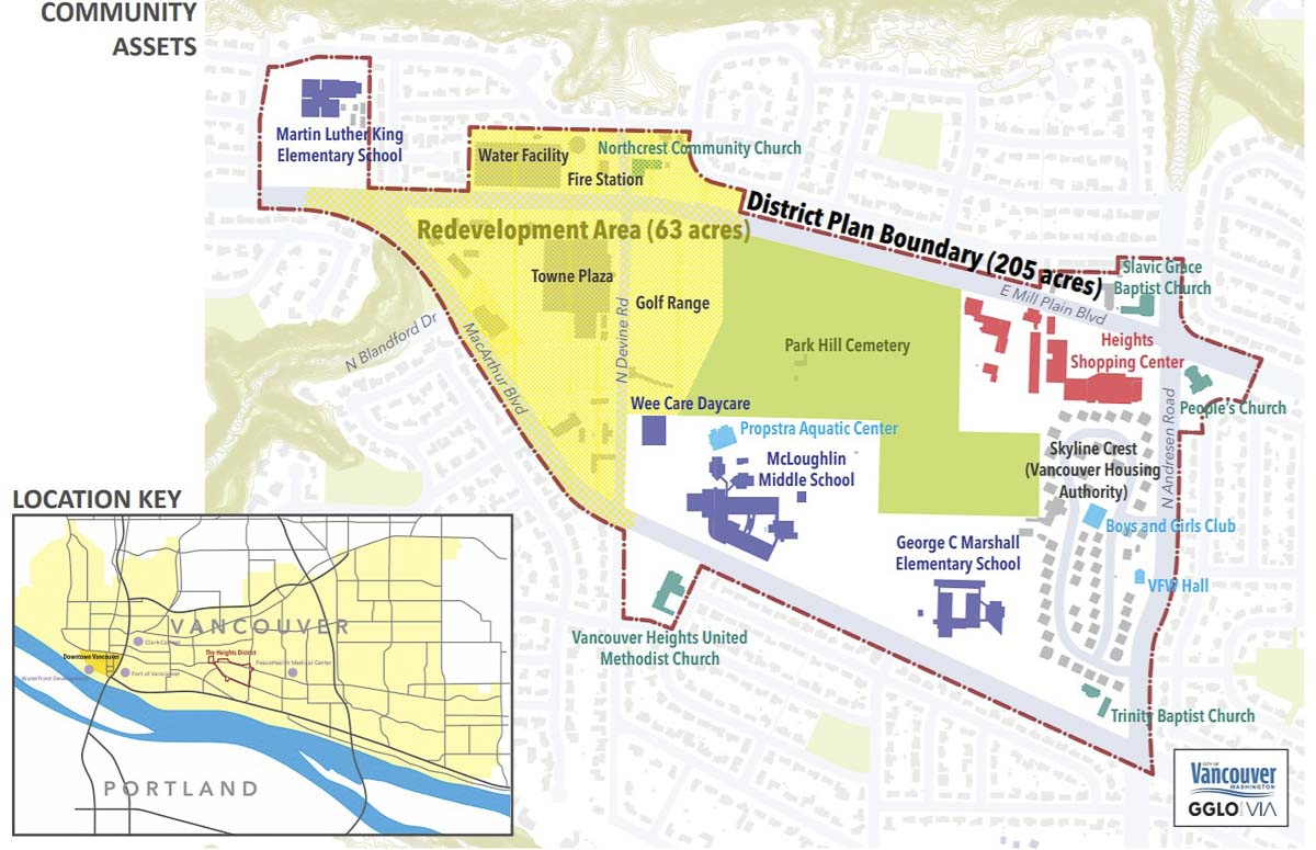This map shows the Tower Mall development area, along with The Heights Neighborhood subarea. Image Courtesy Vancouver Planning Department