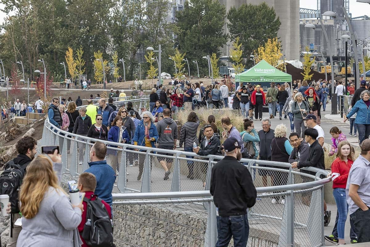 Thousands turned out for the grand opening of the new Vancouver Waterfront Park. Photo by Mike Schultz