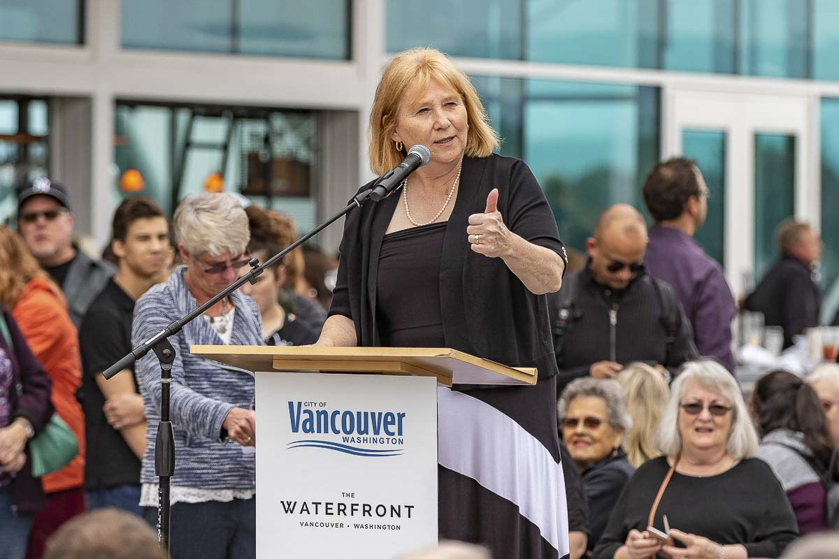 Vancouver Mayor Anne McEnerny-Ogle speaks during Saturday's grand opening of the new Waterfront Park. Photo by Mike Schultz