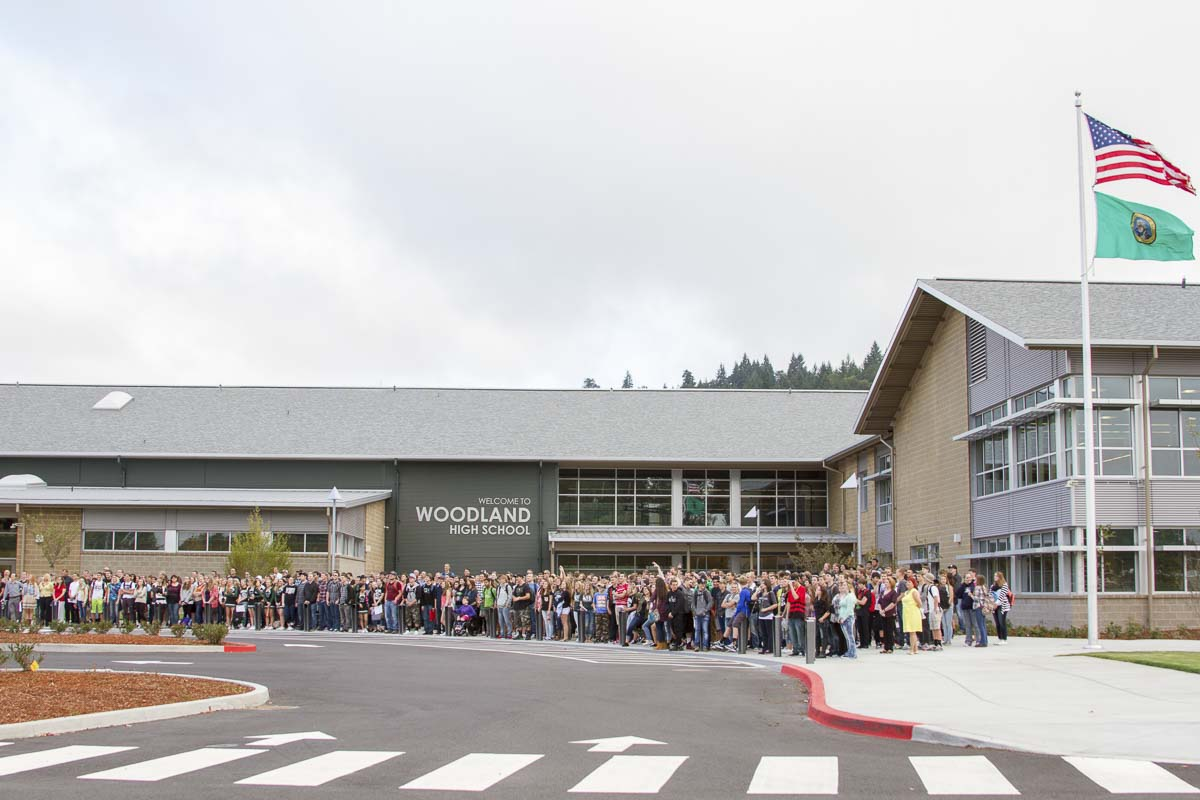 Students attribute the close-knit spirit of the Woodland High School student body to the school's small size and the students' acceptance of new people. Photo courtesy of Woodland School District