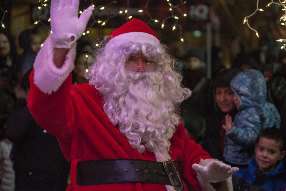 Santa Claus himself waves to children and families at the Vancouver Rotary tree lighting on Black Friday. Photo by Jacob Granneman