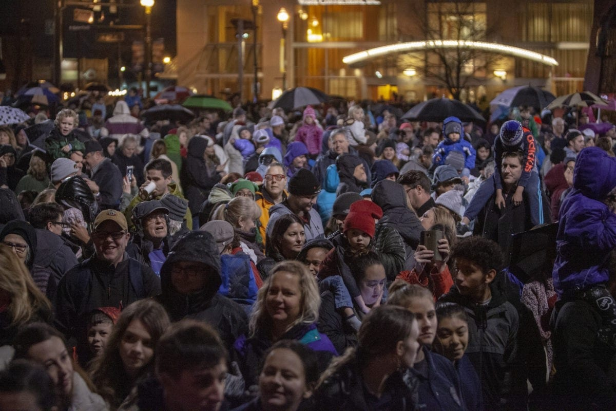 Hundreds of families and friends came out in the rain to be a part of the Vancouver tree lighting in Esther Short Park. Photo by Jacob Granneman